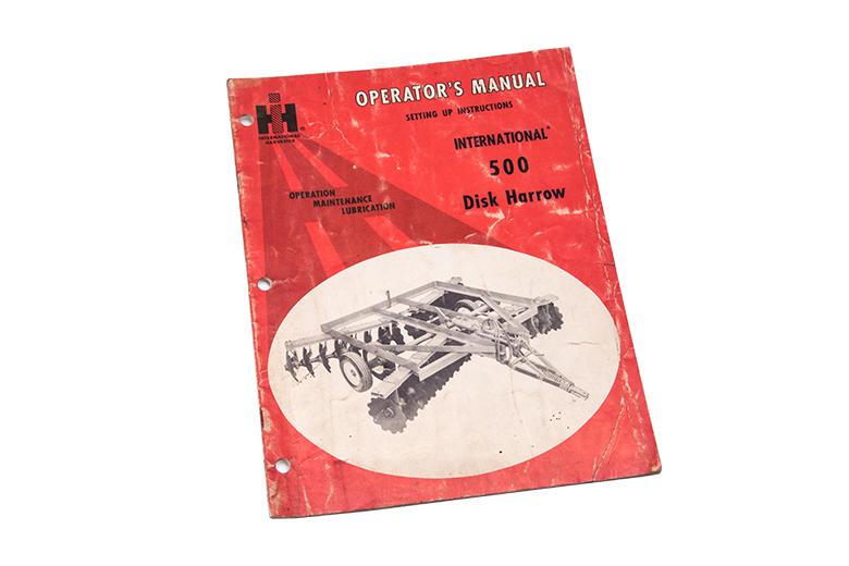 Original Copy of International Harvester 500 Disk Harrow Operator's Manual