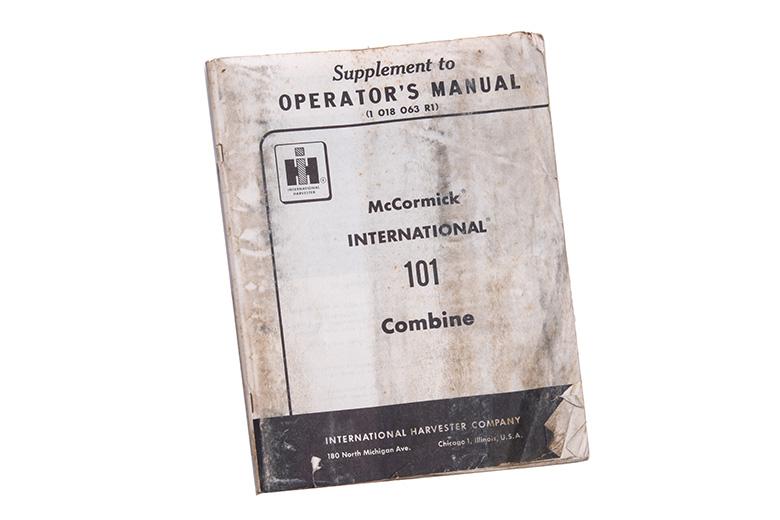 Operators Manual 101 Combine