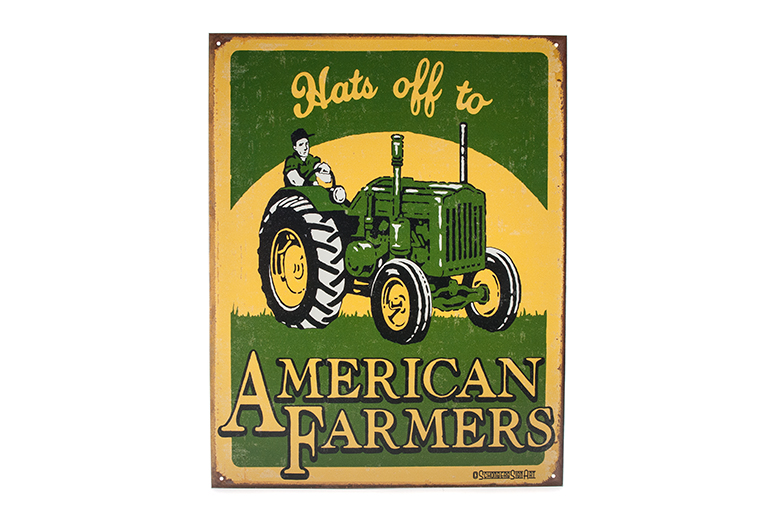 Hats off to American Farmers - Metal Sign