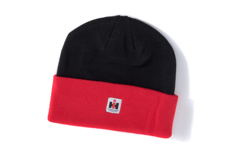 IH Black and Red Knit Watch Cap, Stocking Hat