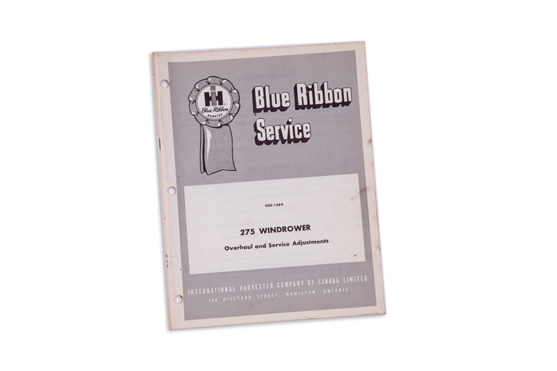 Blue Ribbon 275 Windrower service manual