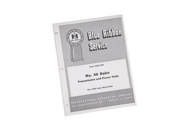 Blue Ribbon Service no. 46 Baler Transmission and power Train manual