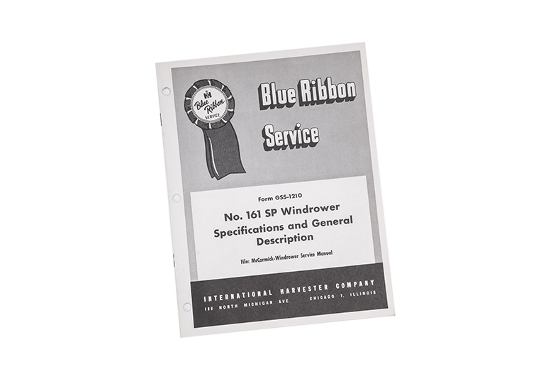 Blue Ribbon Service manual No. 161 SP windrower