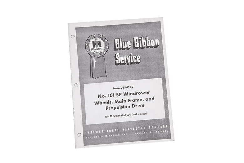 Blue Ribbon manual No. 161 Sp Windrower wheels, main frame, and propulsion drive