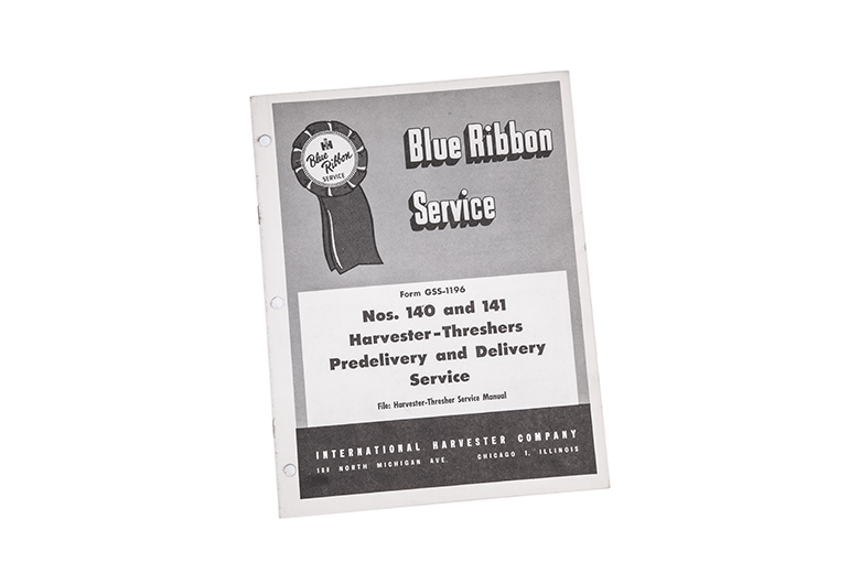Blue Ribbon service manual Nos. 140 and 141 Harvester-Threshers Predelivery and delivery Service