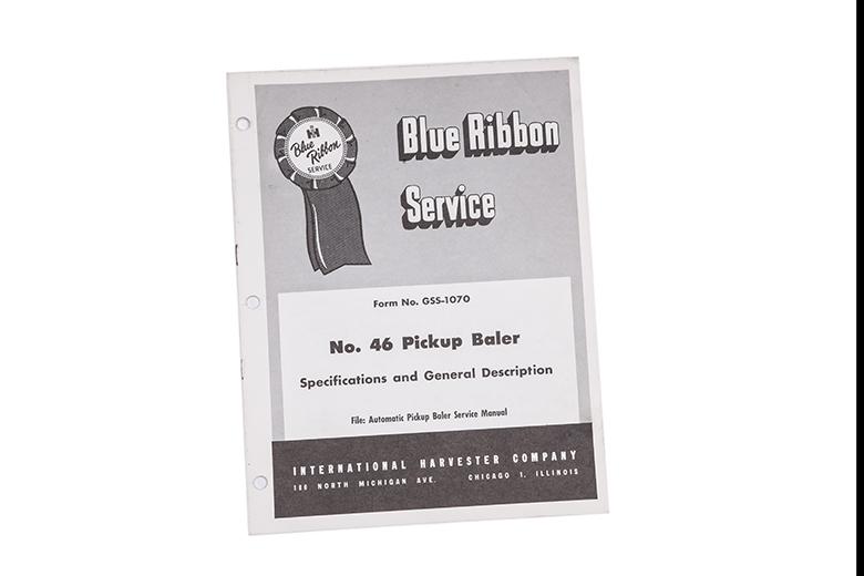blue ribbon service No. 46 pickup baler specifications and general description