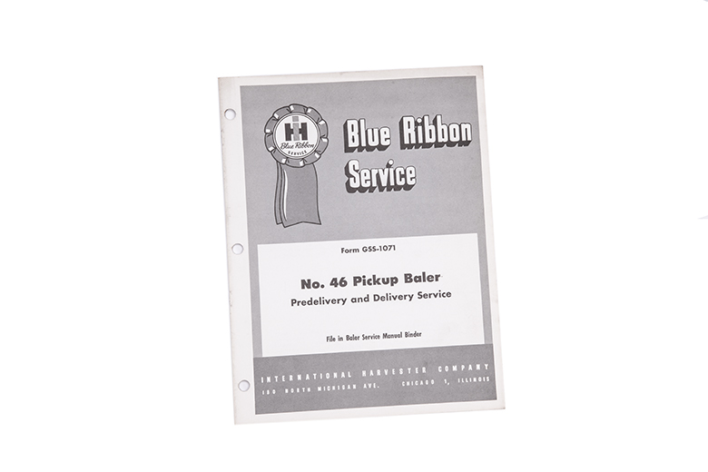 Blue Ribbon service manual No. 46 pickup baler predelivery and delivery service