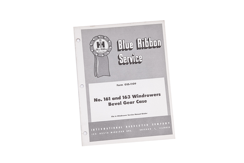 Blue Ribbon service manual No. 161 and 163 Windrowers bevel gear case