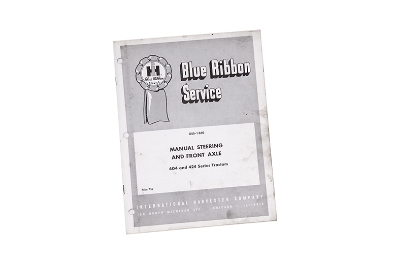 Blue service manual for IH Manual Steering and Front Axle 404 & 424 tractors