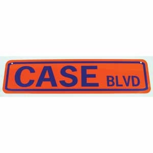 Case Blvd Sign Blue On Orange