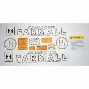 Decal Set - McCormick/IH Farmall H, 12 Pieces