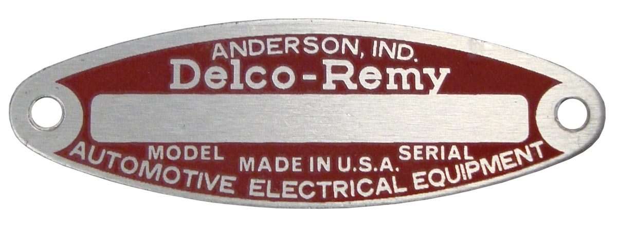 BLANK STARTERGENERATOR TAG FOR 12 VOLT DELCO REMY, WITH 2 RIVETS
