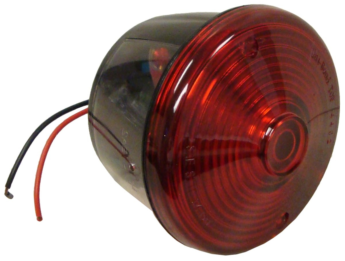 ROUND RED TAIL LIGHT ASSY W/ LICENSE LAMP WINDOW