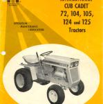 Cub cadet 72, 104,125, 105, 125 Operators Manual