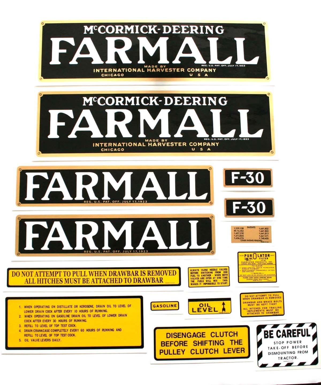 Farmall F12 Decals : Mylar decal set farmall parts international harvester