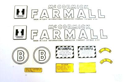 MYLAR DECAL SET - Farmall B