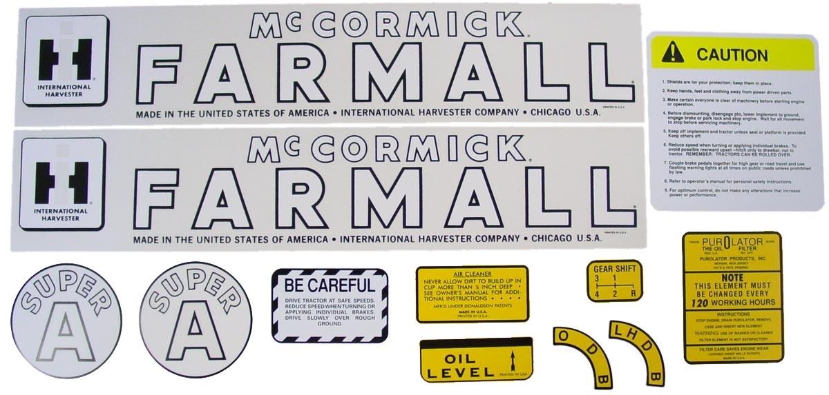 MYLAR DECAL SET - Farmall Super A