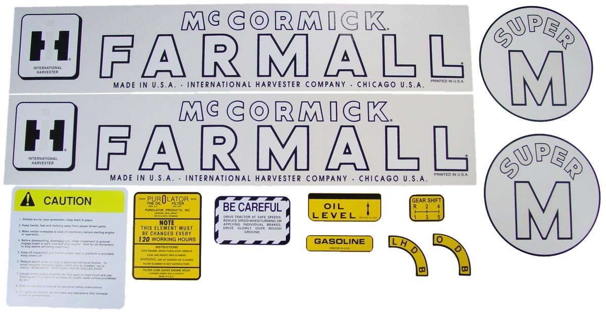 MYLAR DECAL SET - Farmall Super M