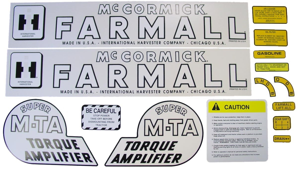 MYLAR DECAL SET Farmall Super MTA