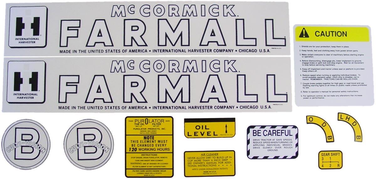 MYLAR DECAL SET -Farmall B
