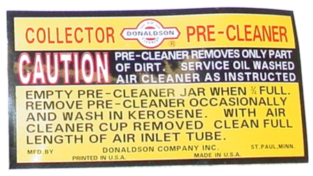 DECAL FOR IH PRECLEANERSCOLLECTORS