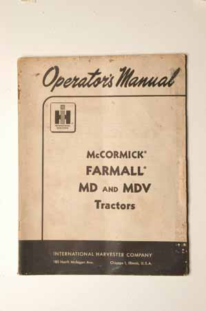 IHMANUAL  McCormick Farmall MD and MDV Tractors Operator's Manual