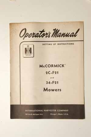 OPERATOR'S MANUAL2C-F21 AND 34-F21 MOWERS