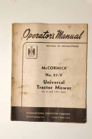 IH MANUAL McCormick No. 27-V Universal tractor Mower