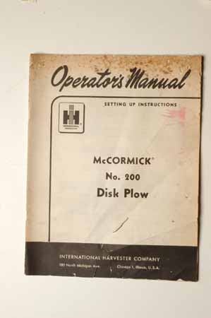 IH MANUAL-McCormick Farmall No.200 Disk Plow