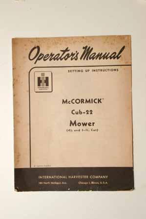 IH MANUAL-McCormick Farmall Cub-22 Mower