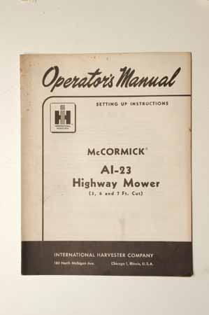 IH MANUAL-McCormick Farmall AL-23 highway mower