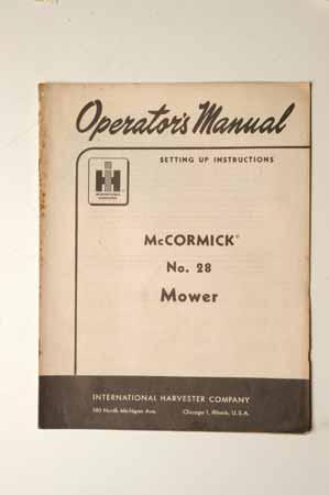 IH MANUAL-McCormick Farmall No. 28 Mower