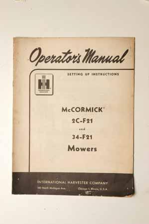 IH MANUAL-McCormick Farmall 2C-F21 And 34-F21 Mowers