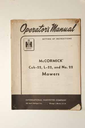 IH MANUAL-McCormick Farmall Cub-22, L-22, and No. 22 Mowers
