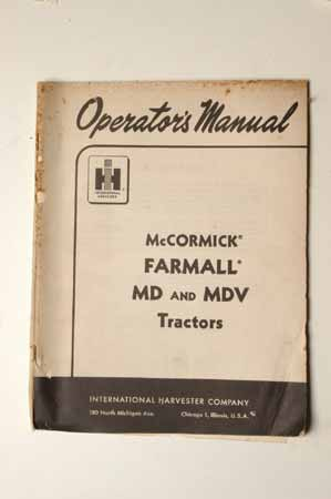 IH Operators MANUAL-McCormick Farmall MD and MDV tractors