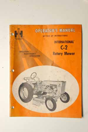 Operator's Manual setting up instructions for C-2 rotary Mower