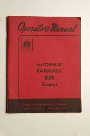 Operator's Manual-McCormick Farmall 230 Tractor