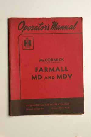 Operator's manual-McCormick Farmall MD and MDV