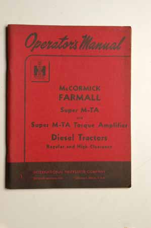 IH OPERATORS MANUAL  Farmall Super M-TA Diesel Tractors original copy