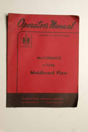 IH  Operator's MANUAL McCormick Moldboard Plow