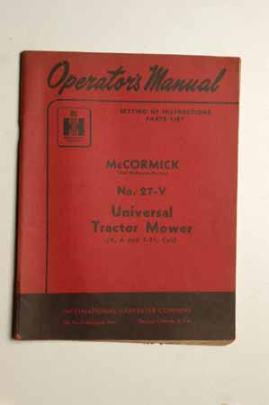 IH  Operator's MANUAL McCormick No.27-V Universal Tractor Mower