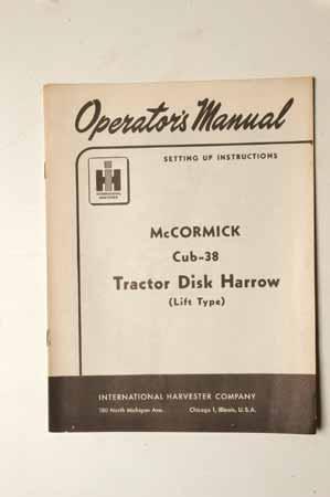 IH Operator's MANUAL McCormick Cub-38 Tractor Disk Harrow (lift Type)
