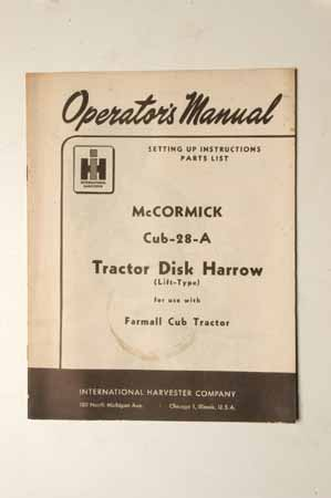 IH Operator's MANUAL McCormick Farmall Cub-28-A Tractor Disk Harrow(Lift Type)