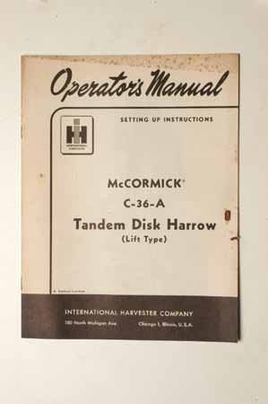 IH Operator's MANUAL McCormick C-36-A Tandem Disk Harrow(Lift Type)