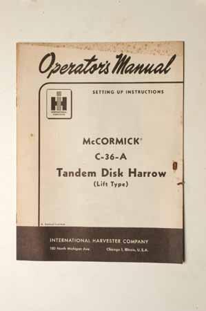 McCormickTandem disk harrow C-36-A