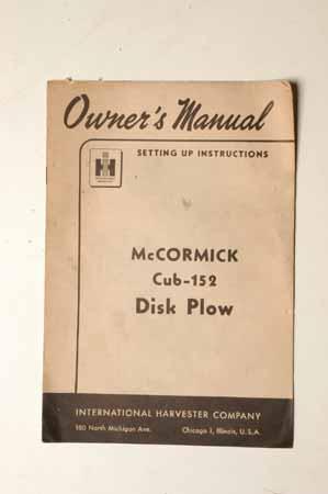 McCormick Cub-152 Disk Plow