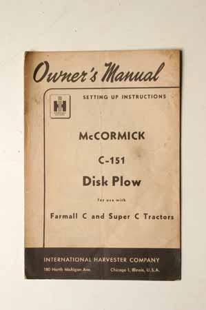 McCormick C-151 disk Plow