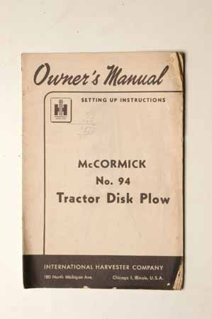 McCormick No. 94  Tractor Disk Plow