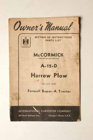 McCormick A-12-D Harrow Plow