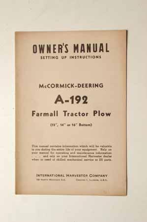 McCormick-Deering A-192 Farmall Tractor Plow